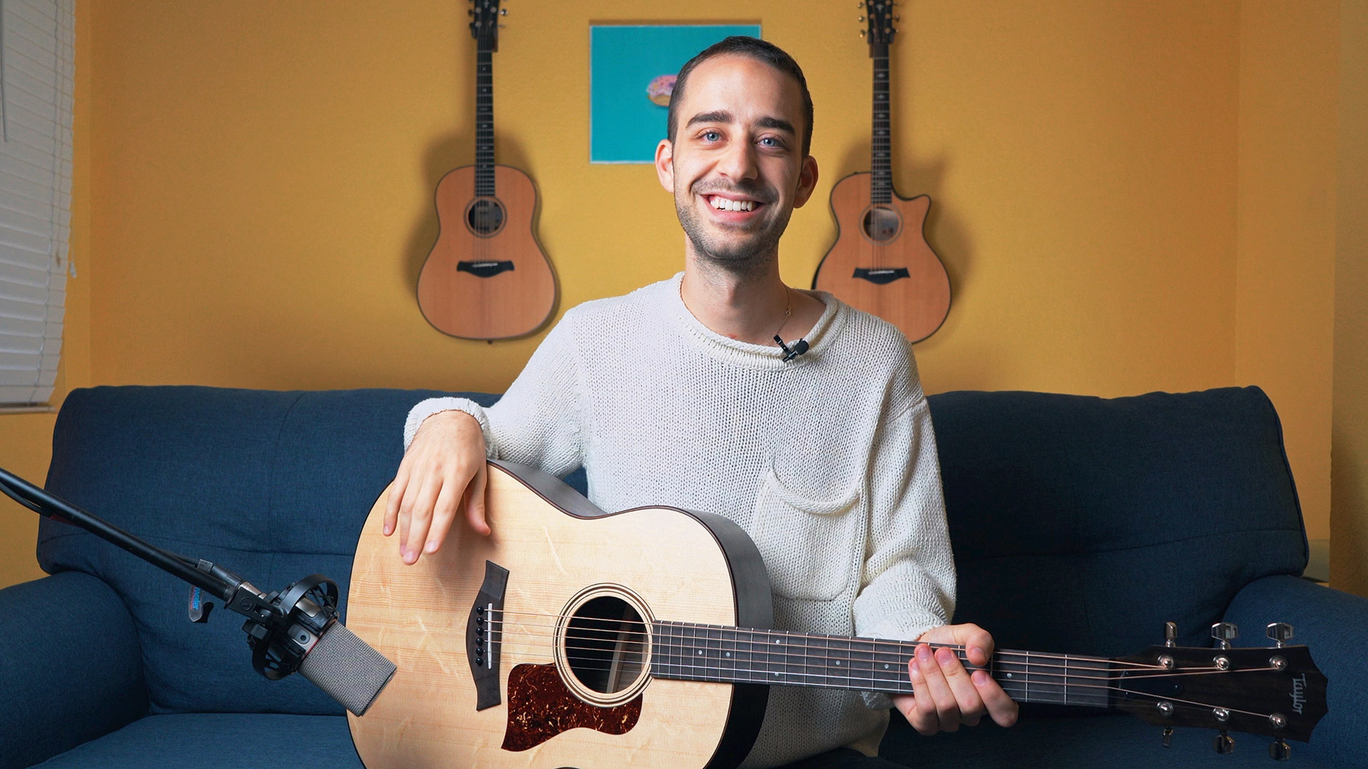 Nicholas Veinoglou with Taylor acoustic guitar