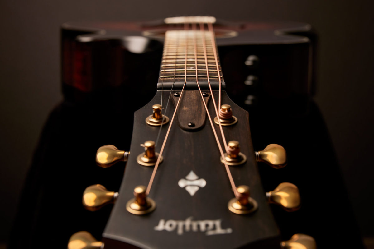 headstock and fretboard of a Taylor acoustic guitar