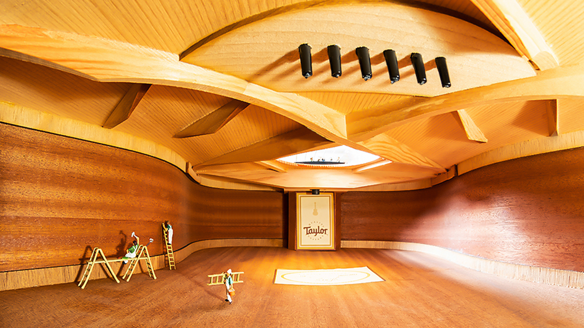 interior still-life photo of Taylor acoustic guitar